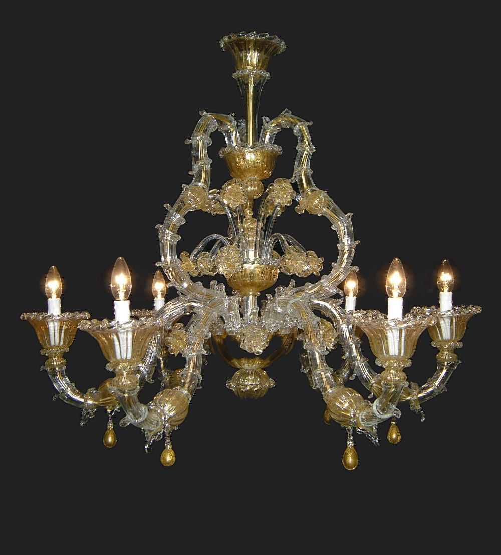 6 light golden  Murano glass chandelier in the Rezzonico style