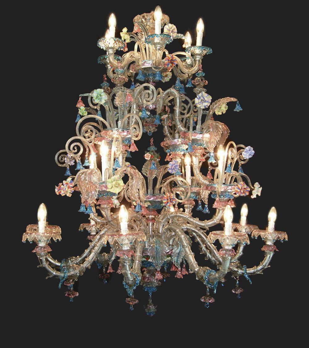 Large 18 light Venetian showcase chandelier with colorful ceramic flowers