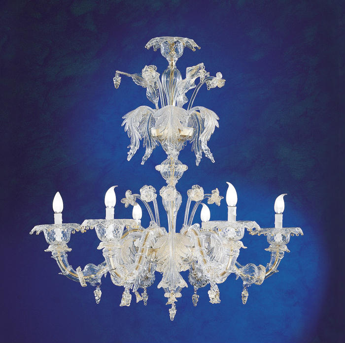 Elegant Murano chandelier in the Rezzonico style, with gold-infused glass
