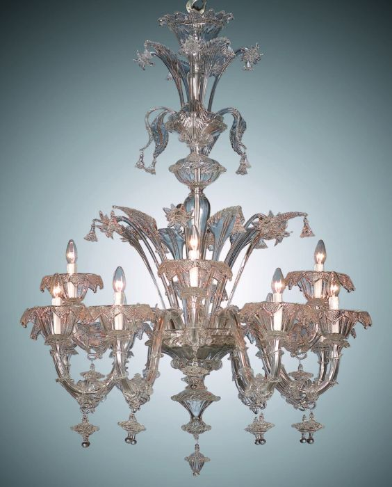 Traditional twelve light Venetian chandelier with gold-infused Murano glass