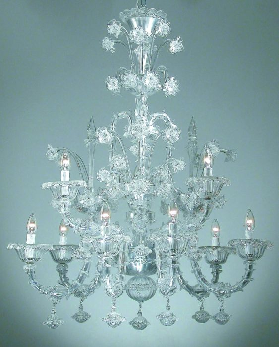 Two tier clear Venetian glass chandelier in the Rezzonico style