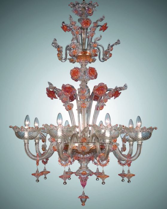 Pretty clear, pink, and gold Murano glass floral chandelier with 8 lights