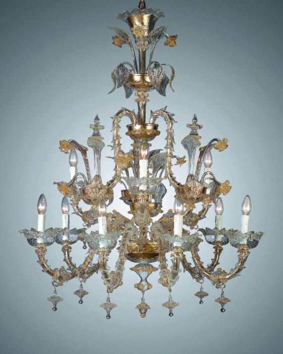 Generously sized clear Rezzonico style Venetian chandelier with 24 carat gold accents