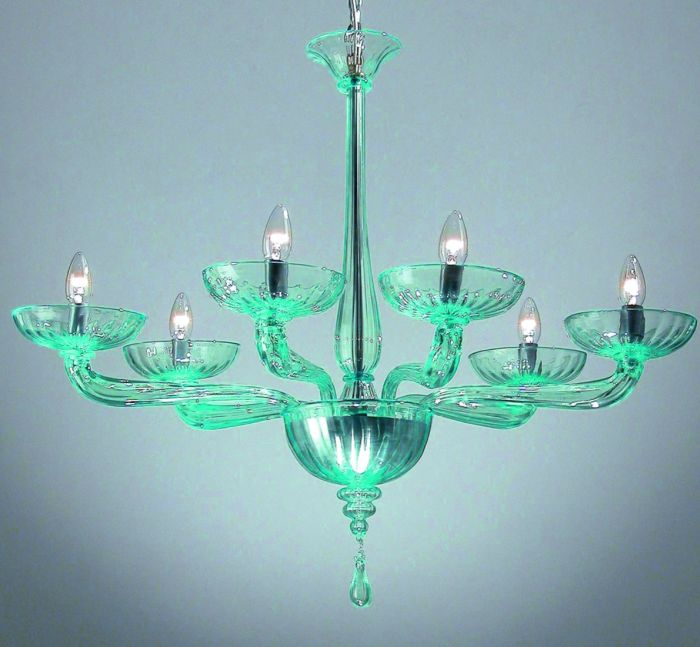 6 Light art deco style Venetian chandelier in clear aquamarine or custom colors