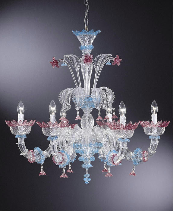 Enchanting Venetian glass flower chandelier with pink and blue decoration