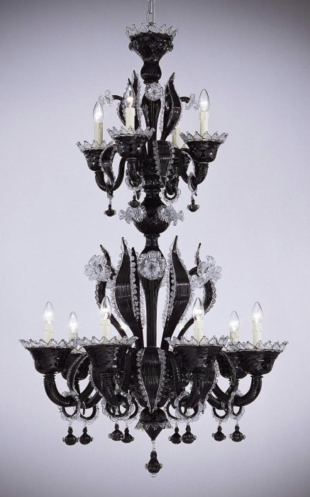 Sophisticated black traditional Venetian chandelier with clear Murano glass trim