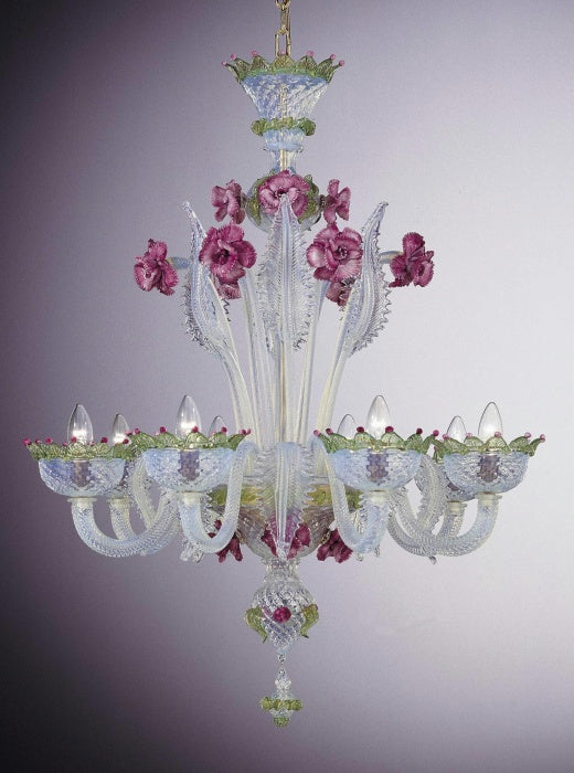 Captivating 8 light Murano glass chandelier with pink ceramic flowers