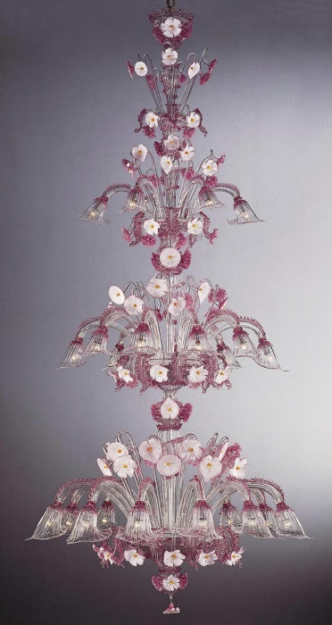 Graceful 3 metre Murano glass stairwell chandelier with  flowers in bespoke colors