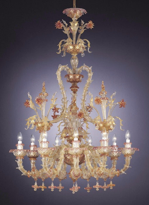 Magnificent large 'Tutto Oro' Rezzonico chandelier in clear Murano glass and pure gold
