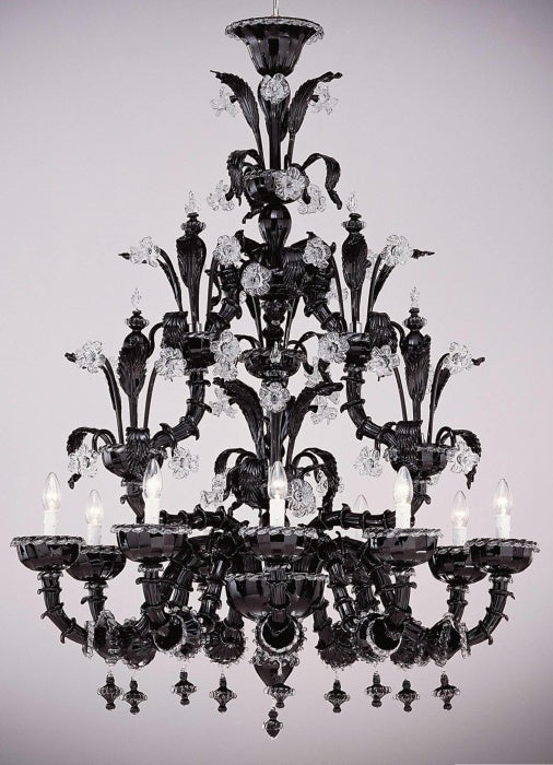 A fabulous black and clear Venetian glass chandelier in the classic Rezzonico style