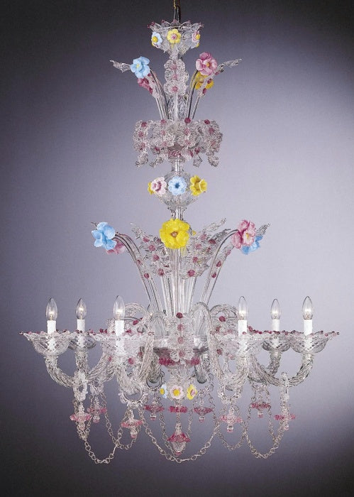 Beautiful clear Venetian chandelier with ceramic flowers in custom colors