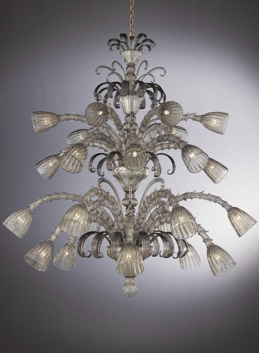 Beautiful large grey Murano glass chandelier with 24 carat gold and 24 lights