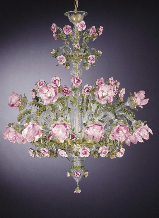 Magnificent 18 light Venetian chandelier with pretty pink and green flower decoration