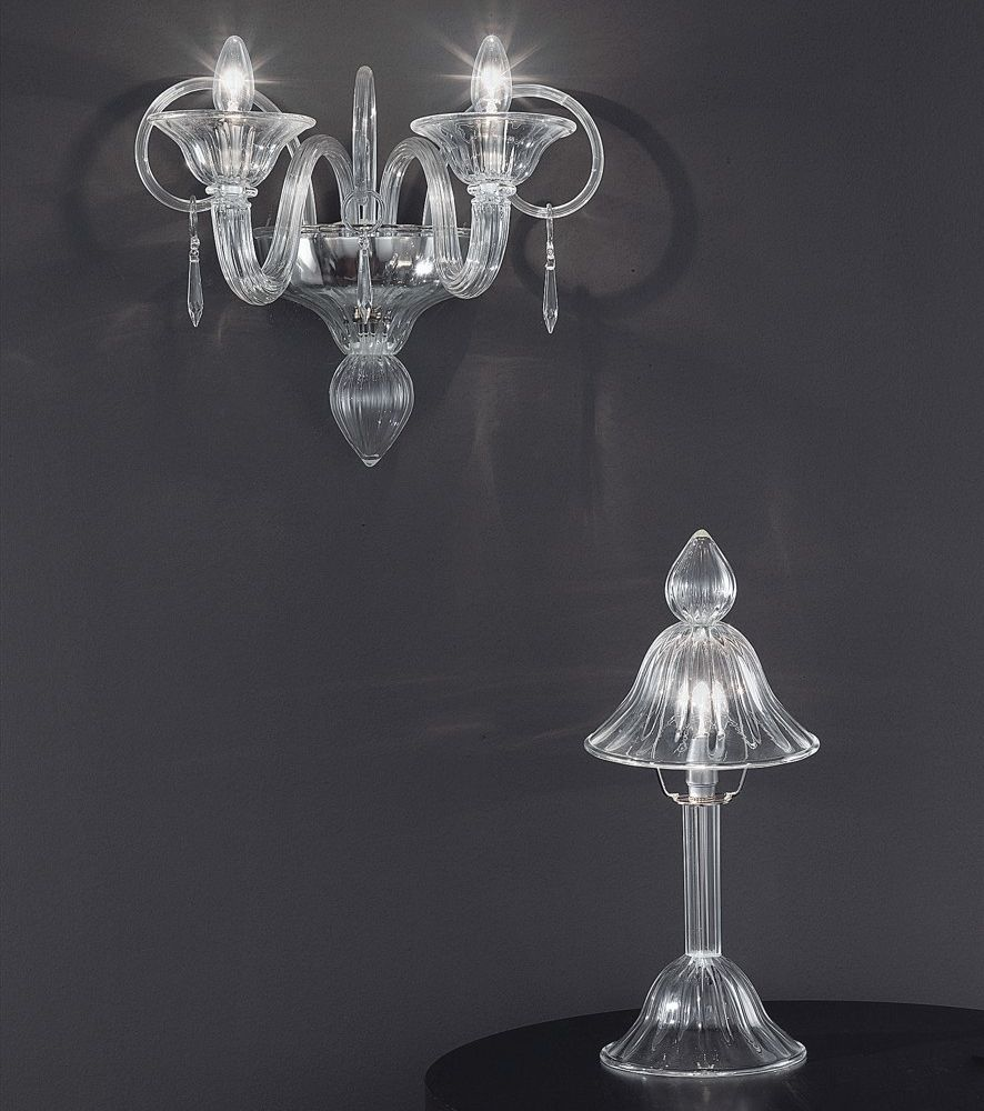 Understated and elegant large clear Murano glass chandelier with nickel frame