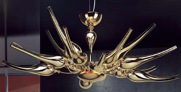Modern metre wide glass art chandelier with metallic gold or chrome finish