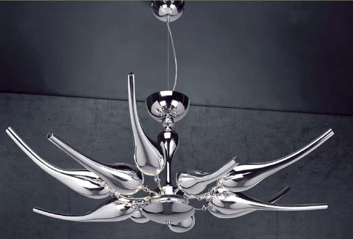 Modern 70 cm wide glass art chandelier with metallic chrome or gold finish
