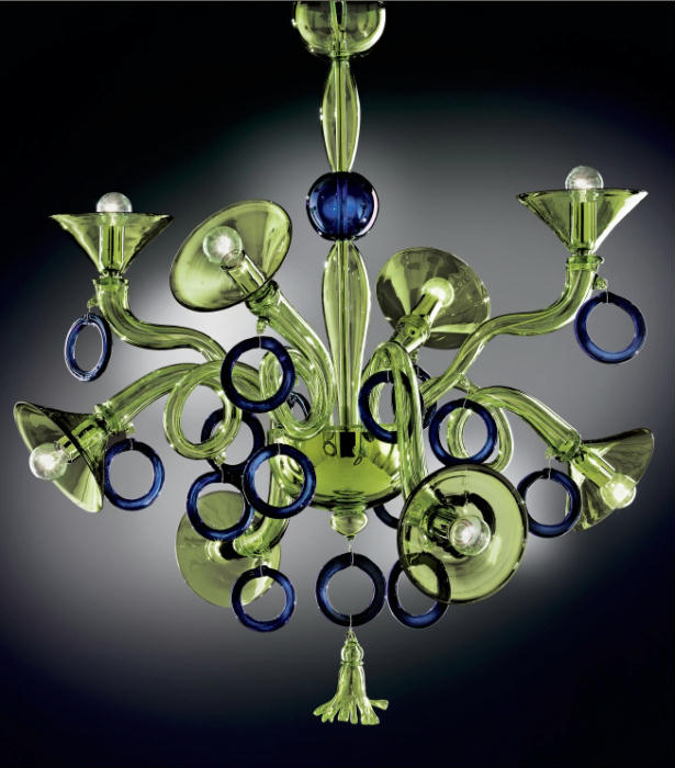 Quirky and unusual modern art glass chandelier in custom colors