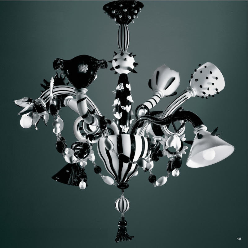 Unconventional modern Venetian glass art chandelier in black and white