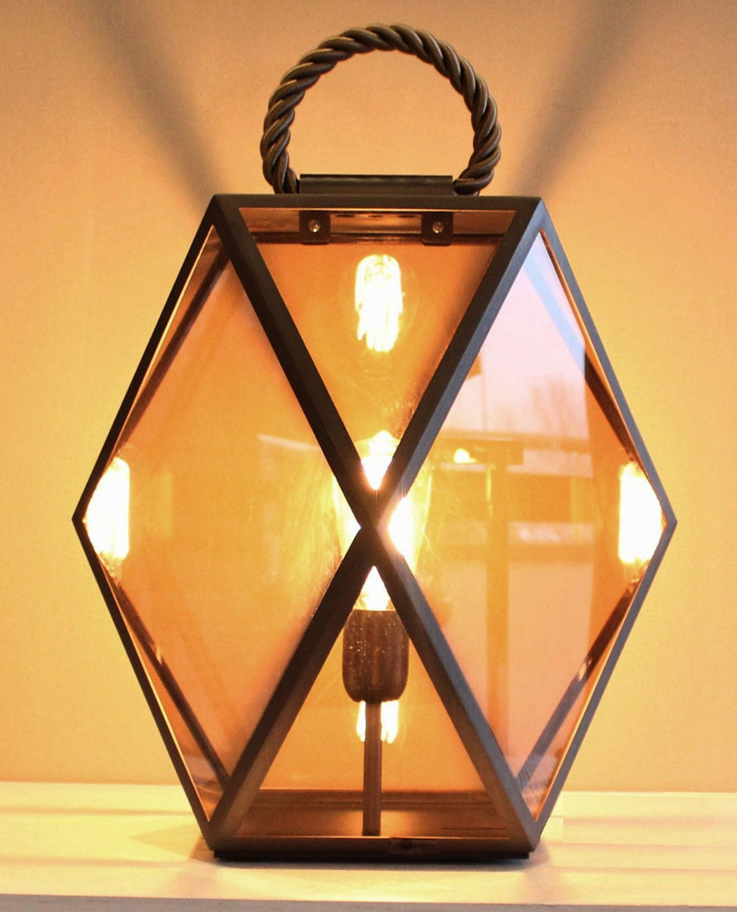 Modern Italian lantern style table lamp with satin bronze frame