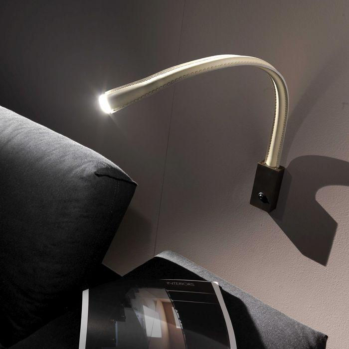 Flexible wall-mounted Italian reading lamp in white, brown, or black leather