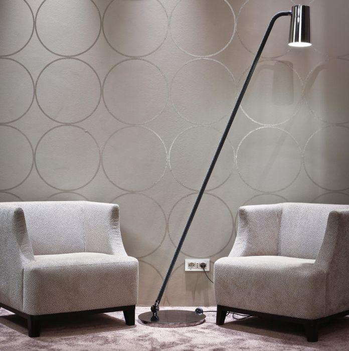 High-end Italian bronze or chrome floor lamp with  silk rope detail