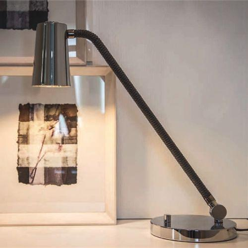 Tall modern bronze or chrome desk lamp with silk rope detail