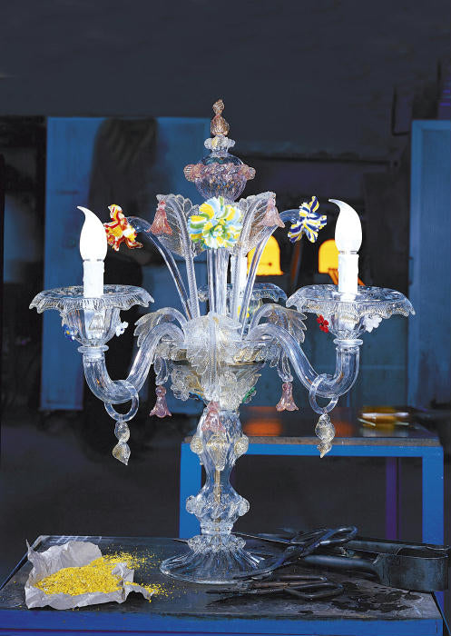Extravagant Venetian flambeau table lamp with flowers in custom colors