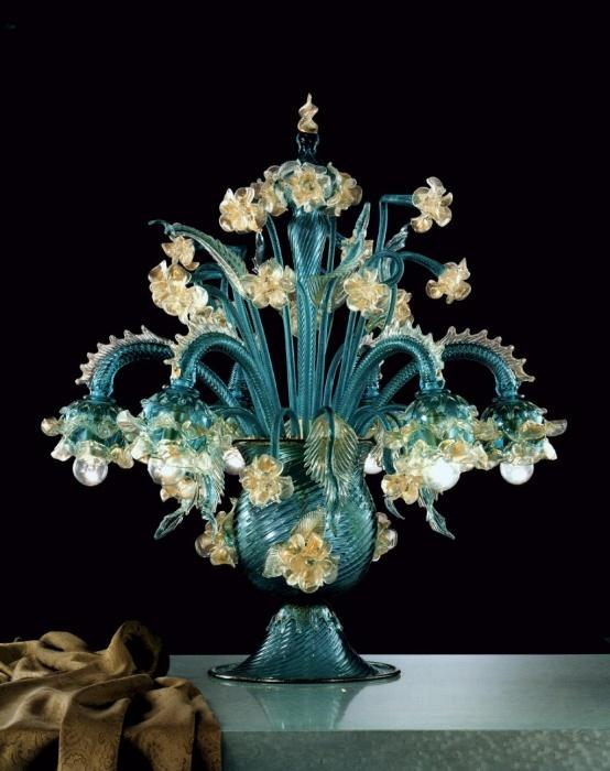 Flamboyant traditional  flambeau-style table lamp in beautiful custom colors with gold accents