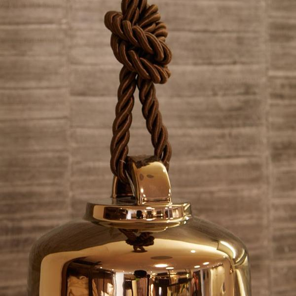High-end glossy  ceramic bell-shaped ceiling pendant with warm bronze finish