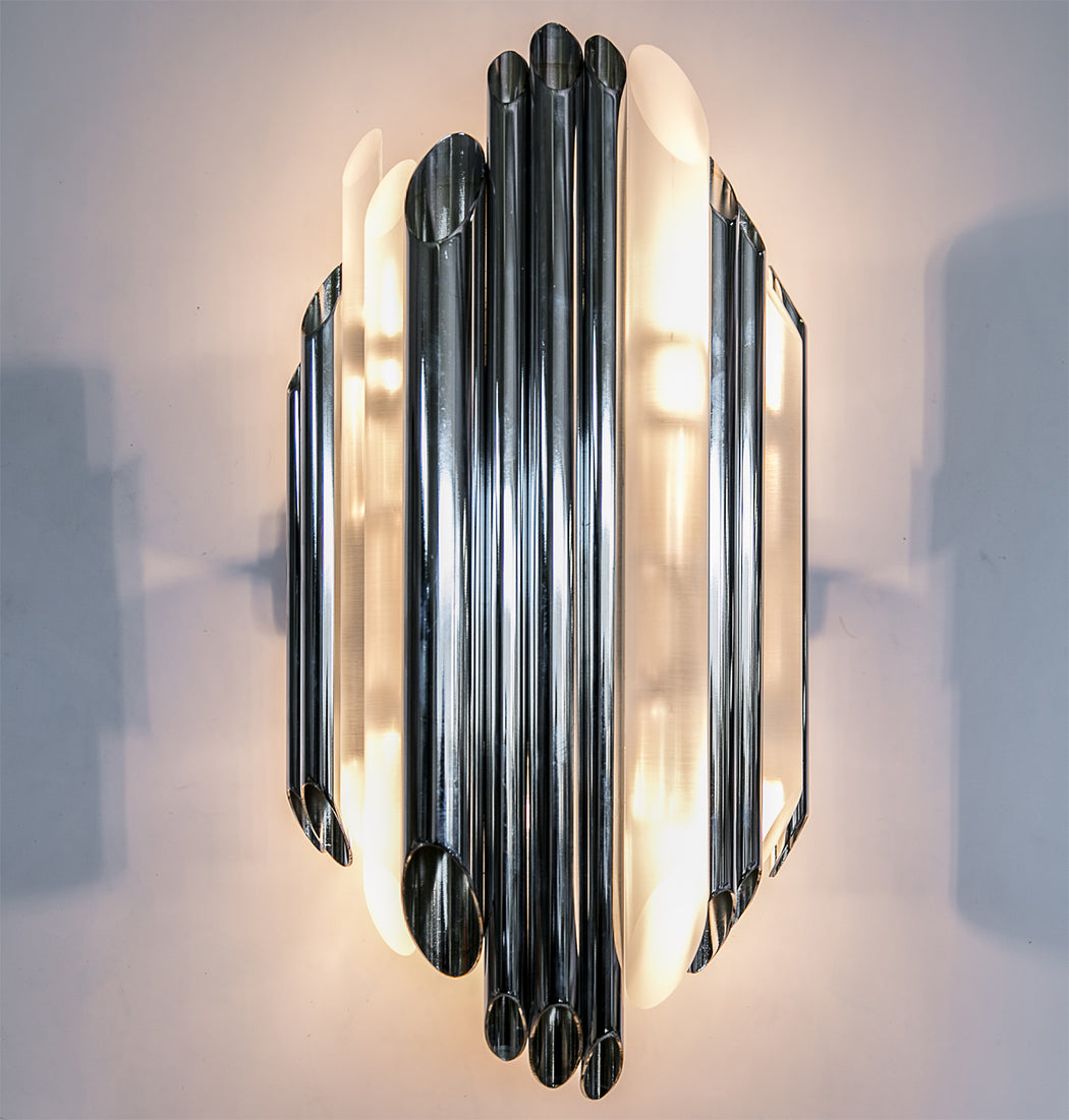"Large sculptural modern wall light with Plexiglass ""pipes"" in chrome or bronze"