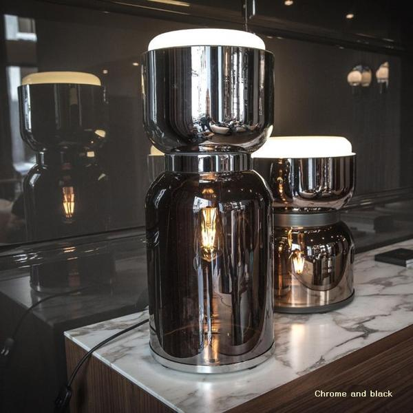 Modern black & chrome or bronze metallic blown glass lamp from Italy