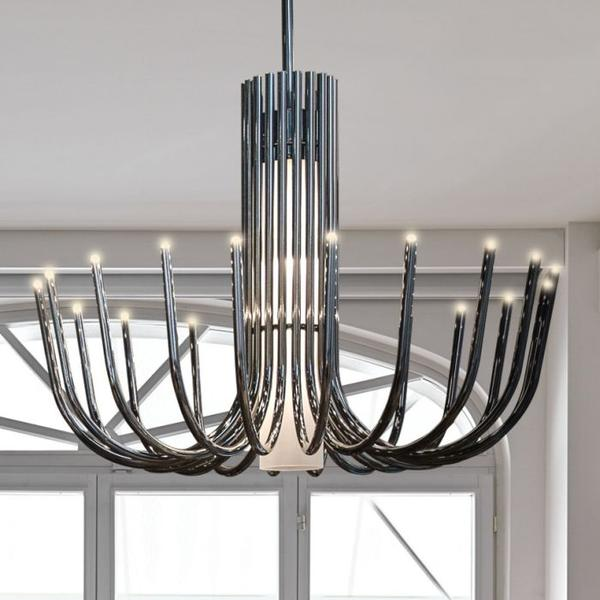 Understated large modern chandelier in black nickel or bronze with white glass diffusers