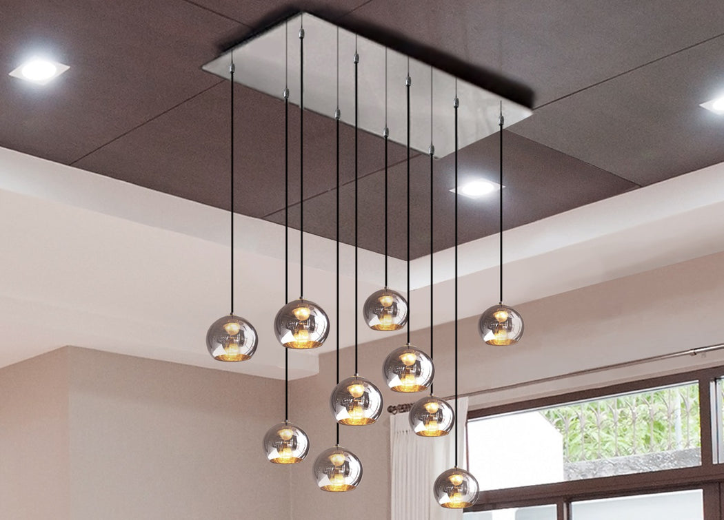 Luxury bronze or chrome 10 light cluster chandelier with custom possibilities