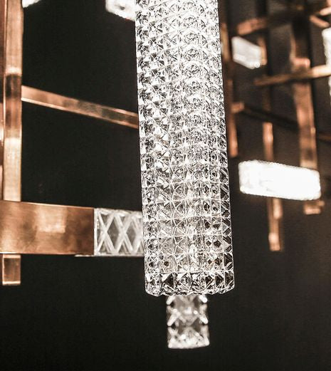 High-end modern Italian brass table lamp with engraved crystal diffuser