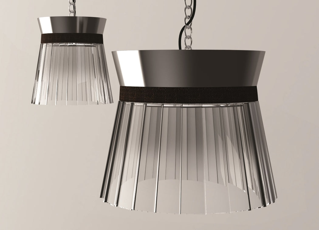 "Modern grey or bronze pleated glass pendant light with coloured leather ""belt"""