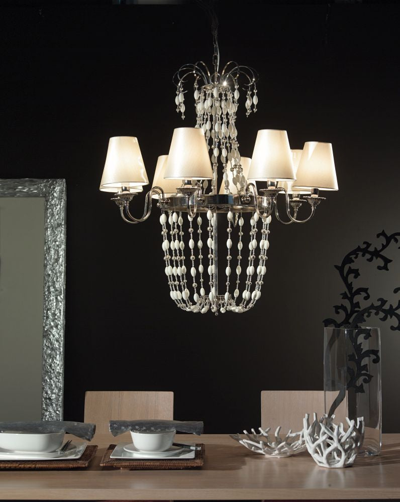 Modern white or red Venetian chandelier with Murano glass pearls