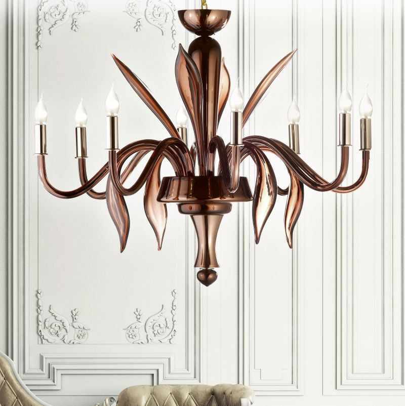 Modern Venetian glass chandelier with brown mirror finish