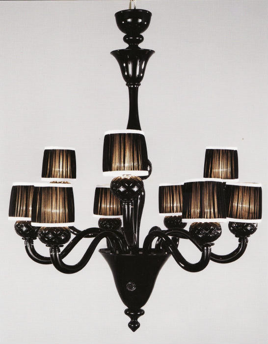 Two-tiered Venetian glass chandelier in dramatic black with nine lights