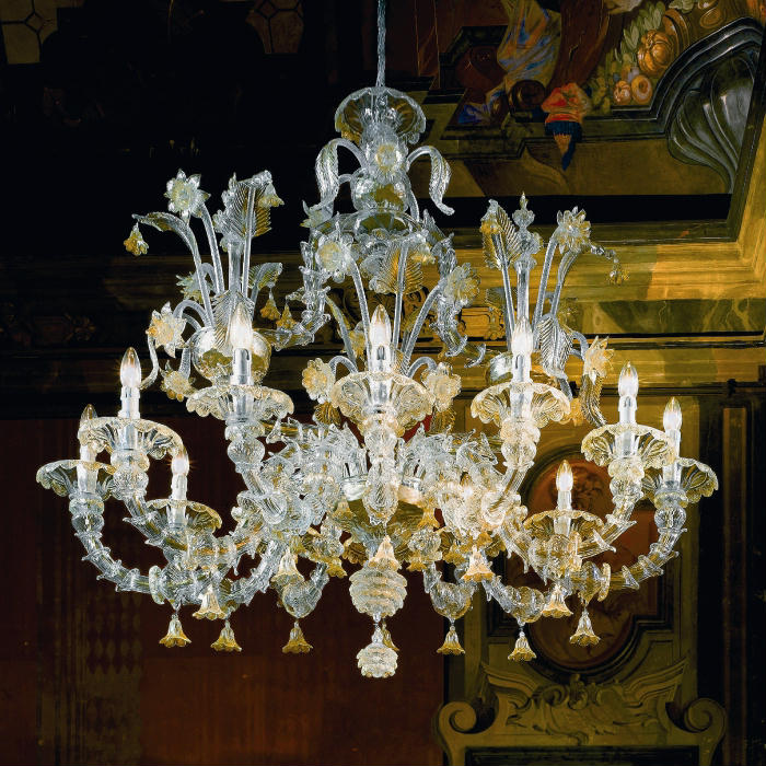 Large Murano chandelier with Rezzonico arms