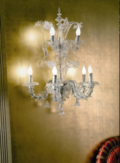 Large decorative classic Murano glass wall light in the Rezzonico style