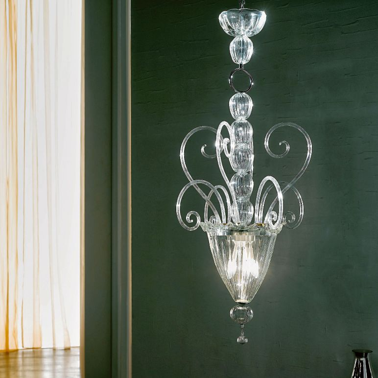 Imposing large hand-blown Venetian glass stairwell light