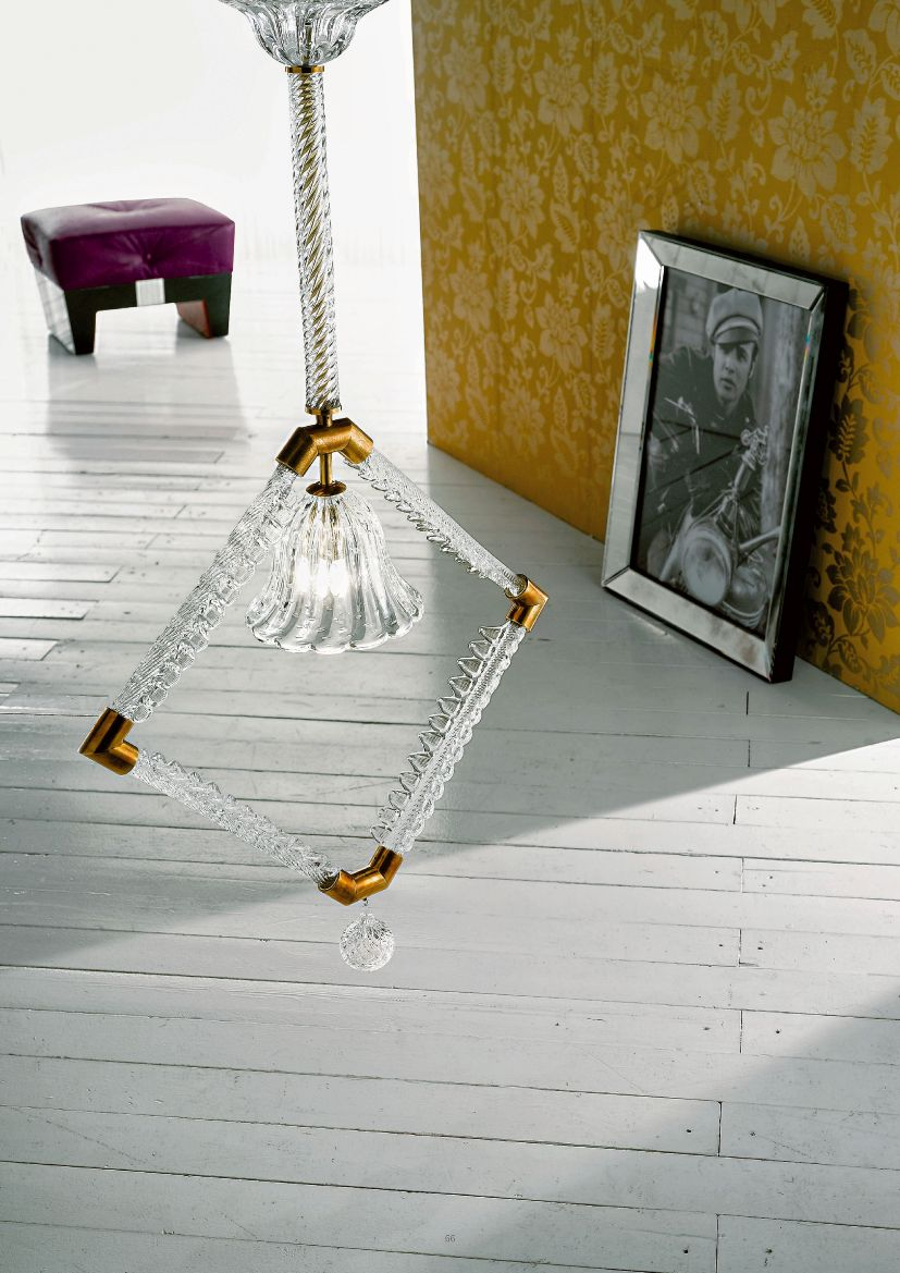 Unusual large modern Venetian hanging light with warm brass and glass frame