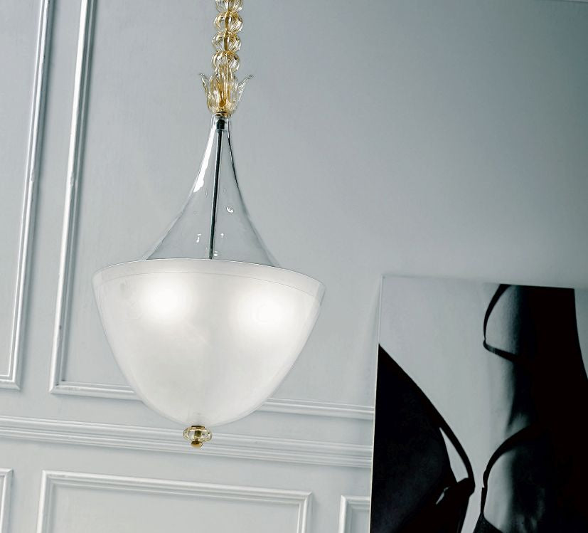 Stylish large Venetian pendant light with Murano glass decoration