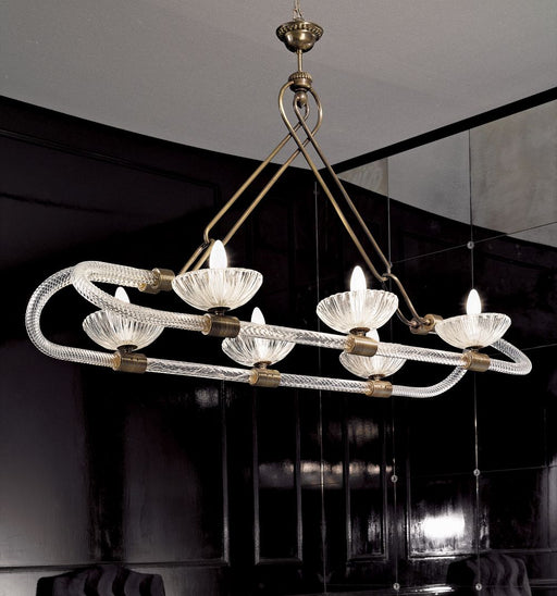 Superb 6 light Venetian brass dining room chandelier with Murano glass