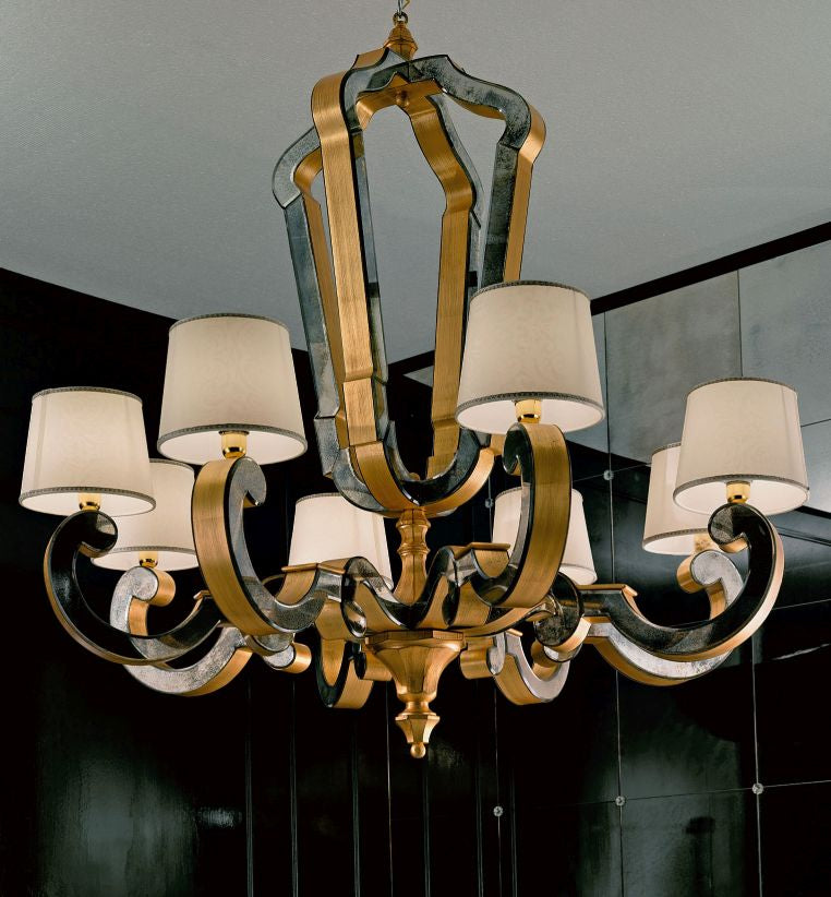 High end golden Venetian chandelier with hand-bevelled mirror inserts