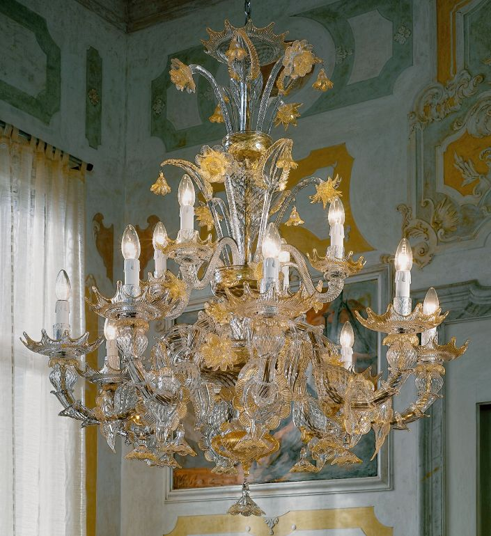 Spectacular large 12 light Murano glass Rezzonico chandelier