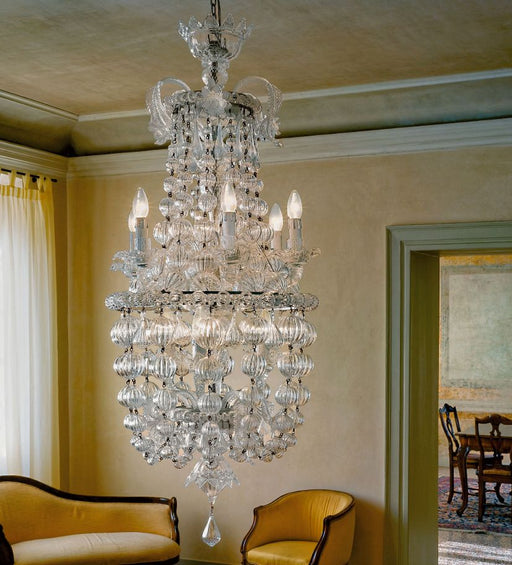 Tall ornate Italianate-style Murano glass stairwell chandelier in clear glass