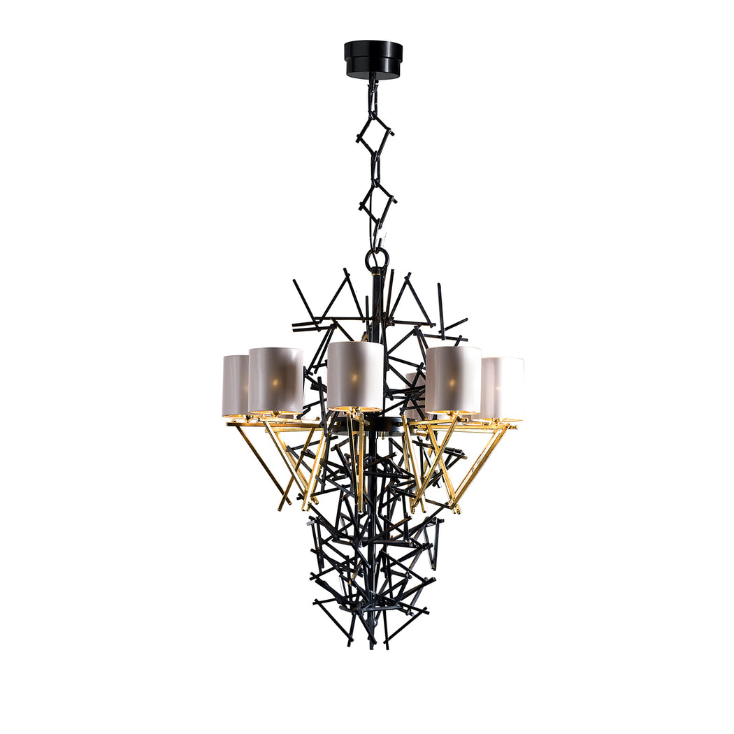 Large black modern nine light Italian chandelier with shades