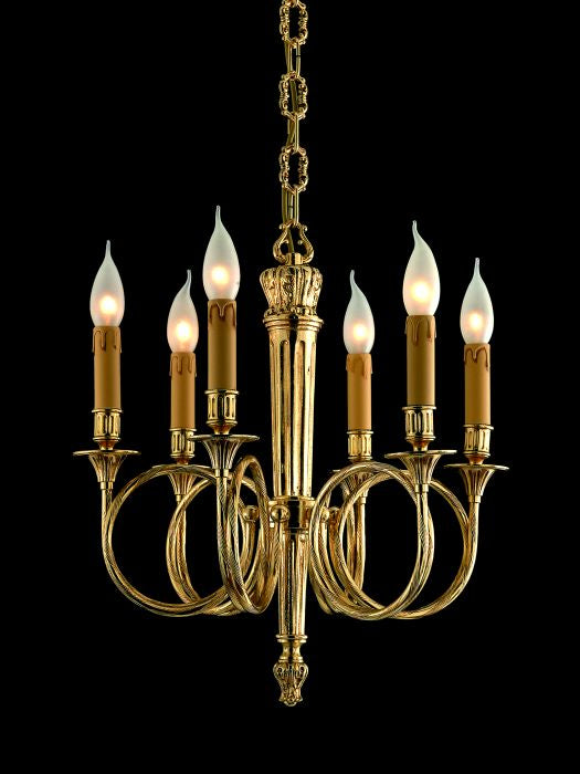 Ornate Italian brass and gold chandelier with 6 lights