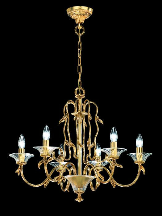 Antique-style gold plated brass chandelier with Murano glass